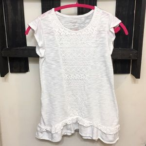 Girls White crochet detail top